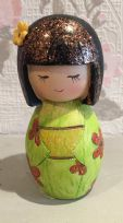 Hand Painted Colourful Kokeshi Doll Girl Figurine ~ GREEN